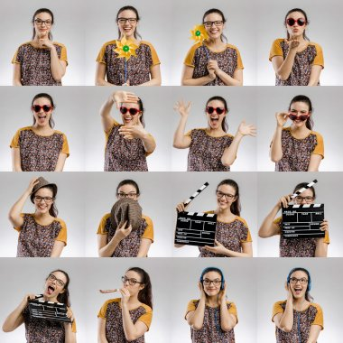 Multiple portraits of woman with different activities