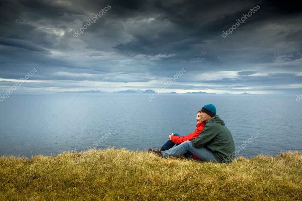 Couple enjoying beautiful landscape