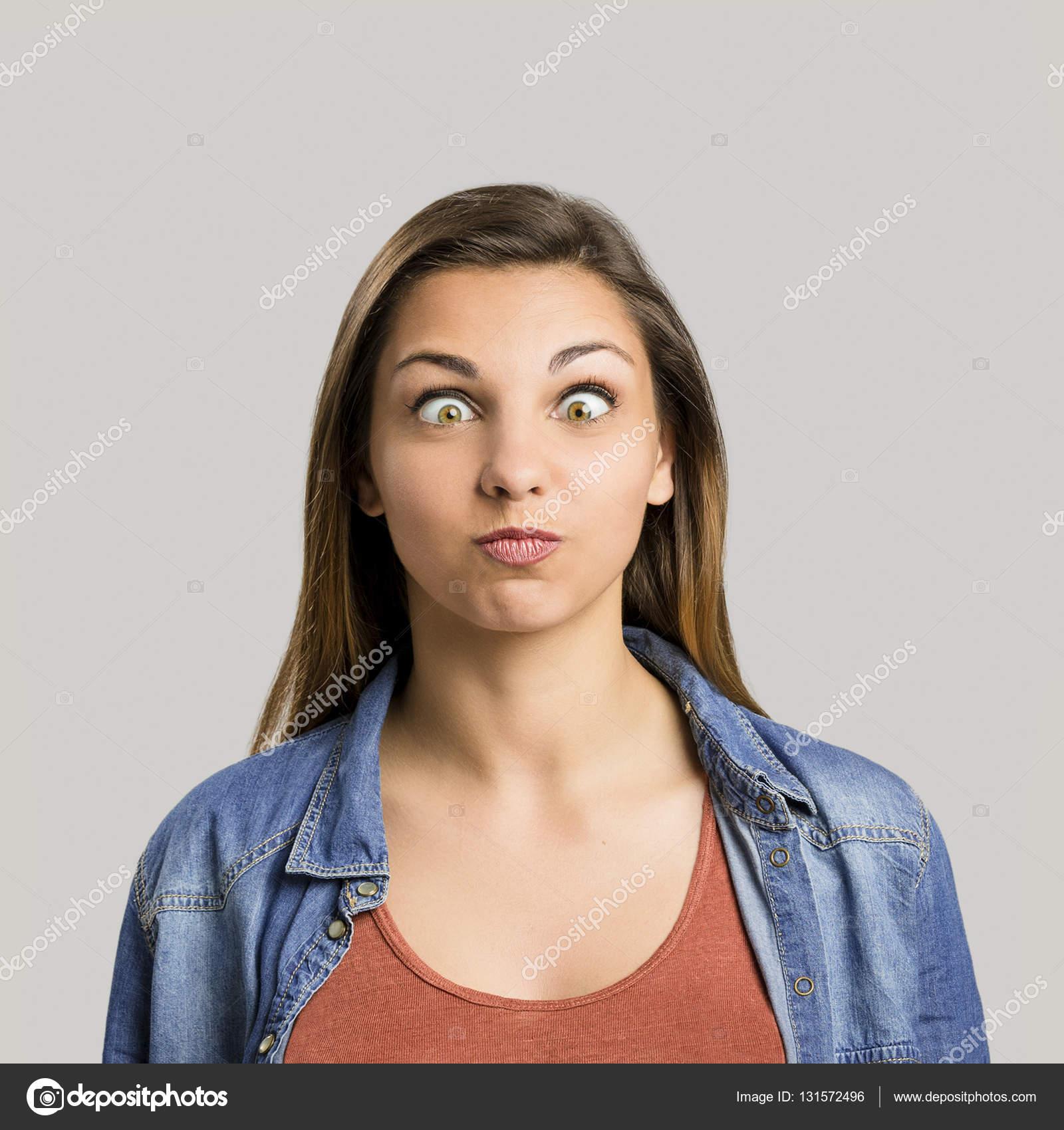 Pics: crazy eyes   Woman making crazy eyes — Stock Photo