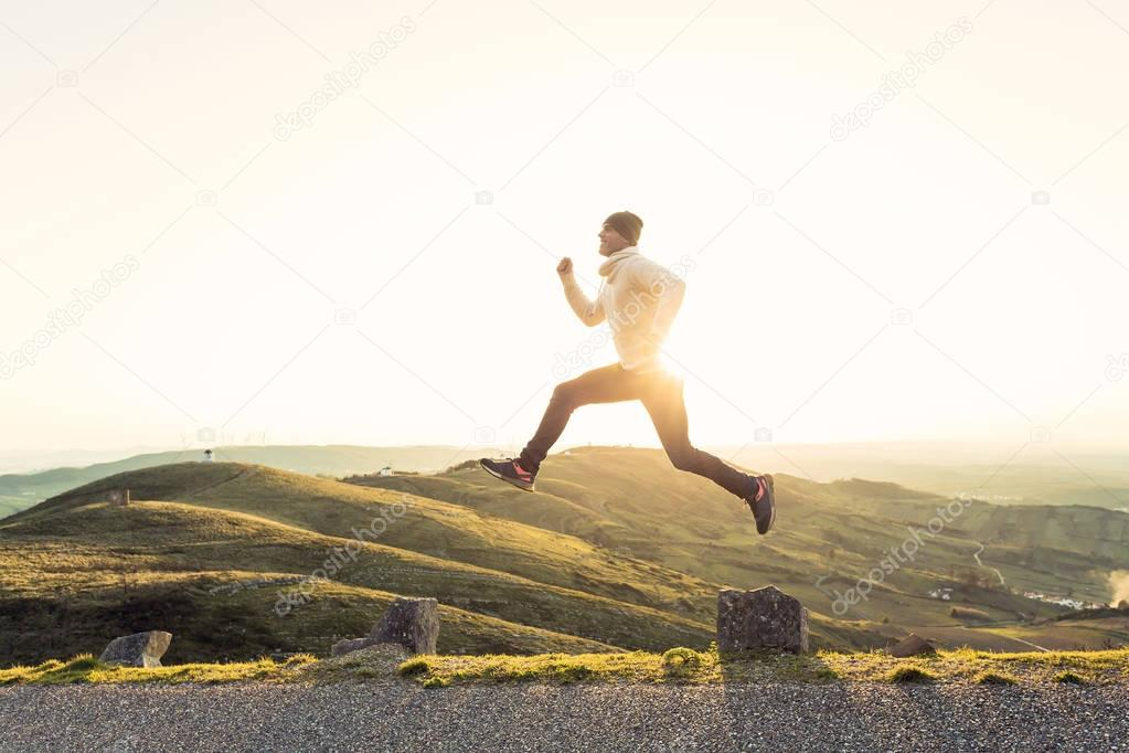 Man running and jumping