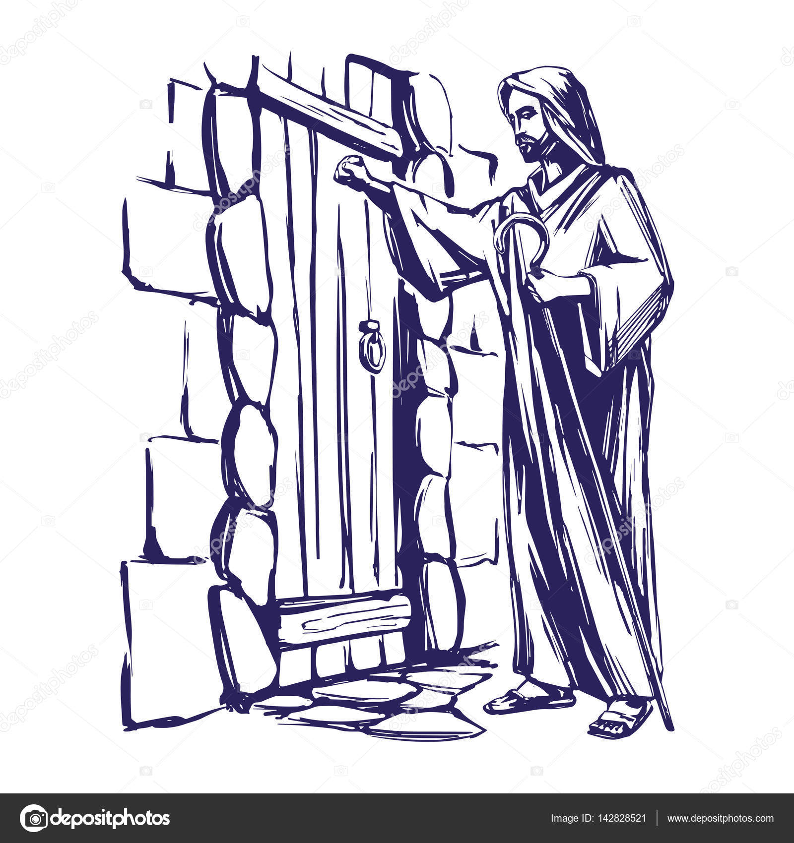 Jesus christ son of god knocking at the door symbol of jesus christ son of god knocking at the door symbol of christianity hand drawn buycottarizona Image collections