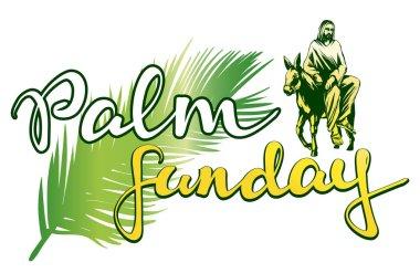 palm Sunday, Jesus Christ rides on a donkey into Jerusalem , symbol of Christianity vector illustration sketch logo