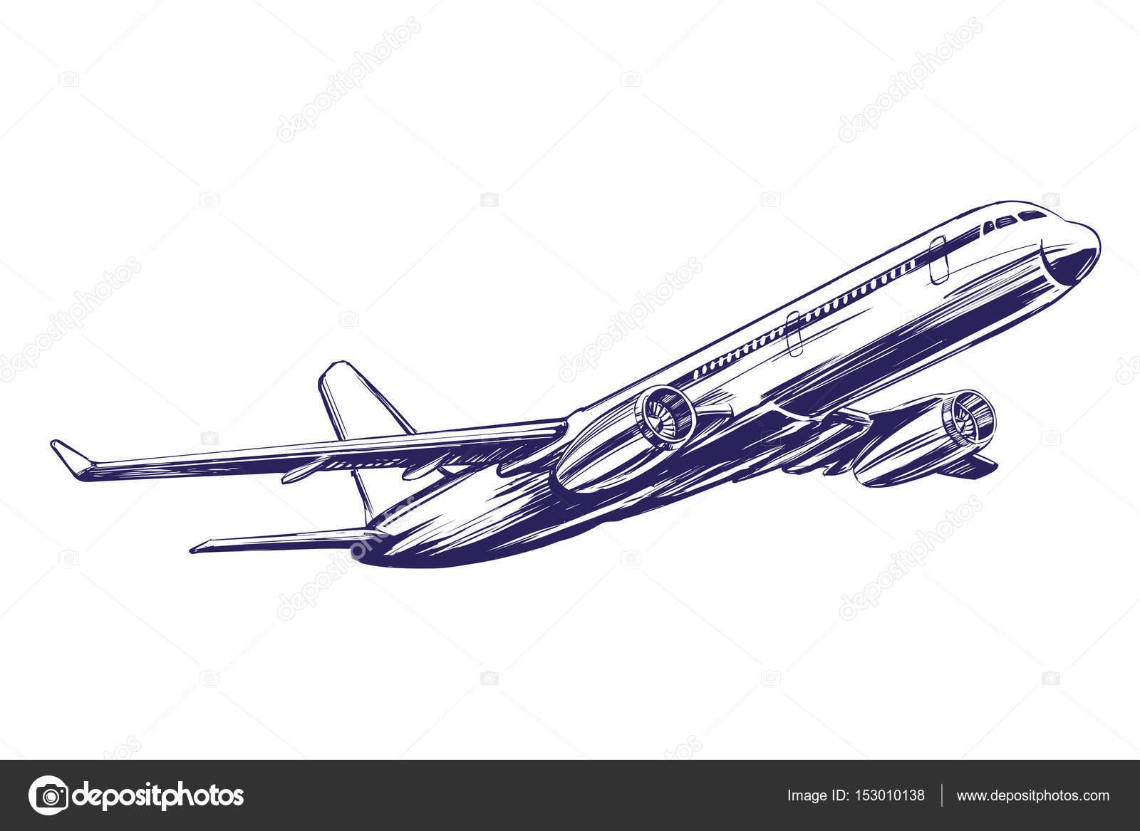 旅客機航空機の手描きの背景イラスト スケッチ ストックベクター