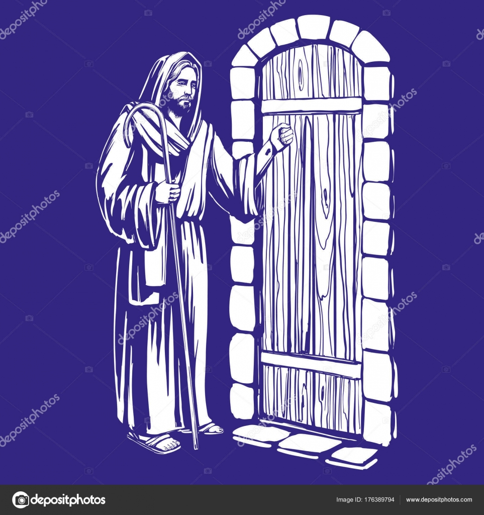 Jesus christ son of god knocking at the door symbol of jesus christ son of god knocking at the door symbol of christianity hand drawn altavistaventures Gallery