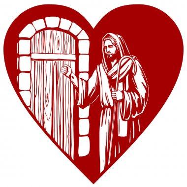 Jesus Christ, Son of God knocking at the door, symbol of Christianity hand drawn vector illustration sketch.
