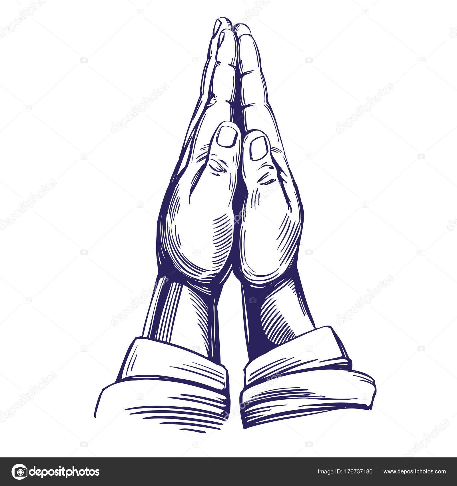 祈りの手キリスト教の手描きの背景イラスト スケッチのシンボル