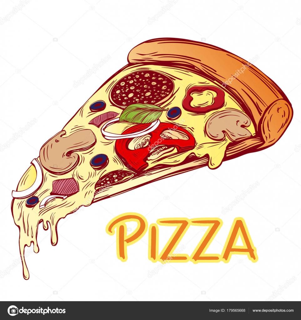 Rebanada de pizza italiana, plantilla de diseño de Pizza, boceto de ...
