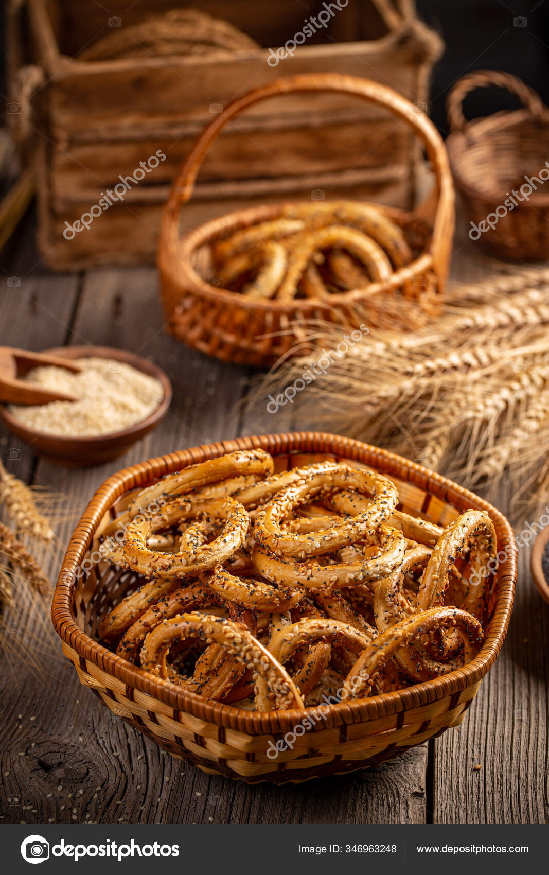 Pretzels Ring In Rustic Basket Stock Photo Image By C Grafvision 346963248