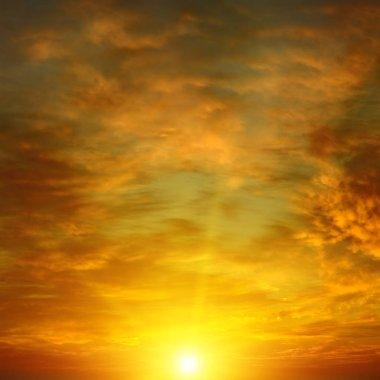 Bright epic dawn. Heavenly background.