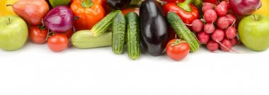 Pile fresh vegetables and fruits isolated on white background.