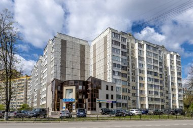 Modern residential high-rise houses in new districts of Moscow