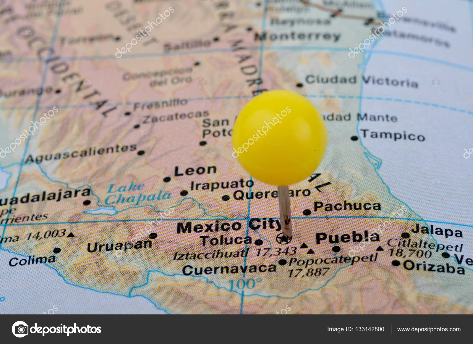 macro shot of a map showing mexico city stock photo