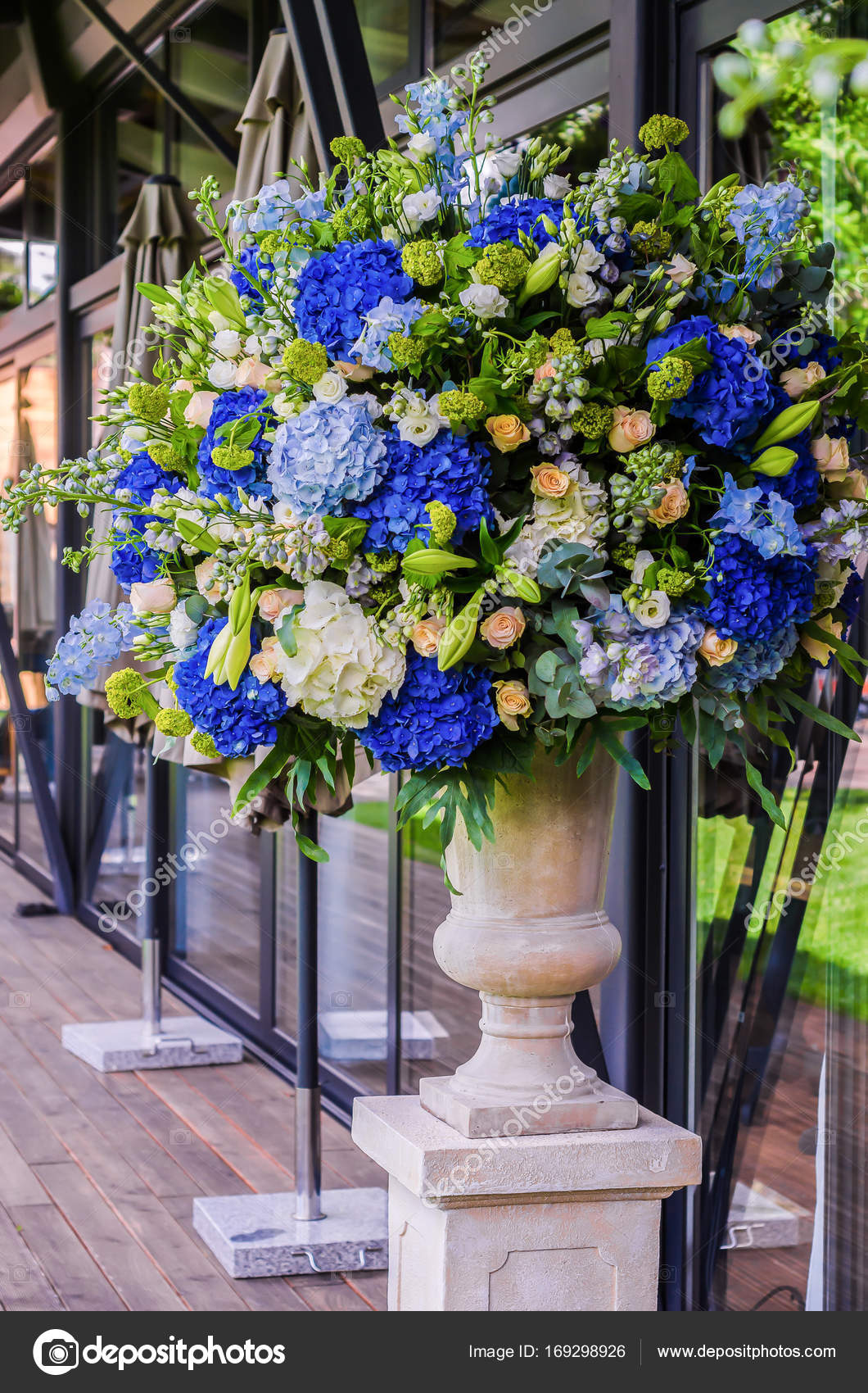 Beautiful Flower Arrangement Bouquet Of Blue Hydrangea