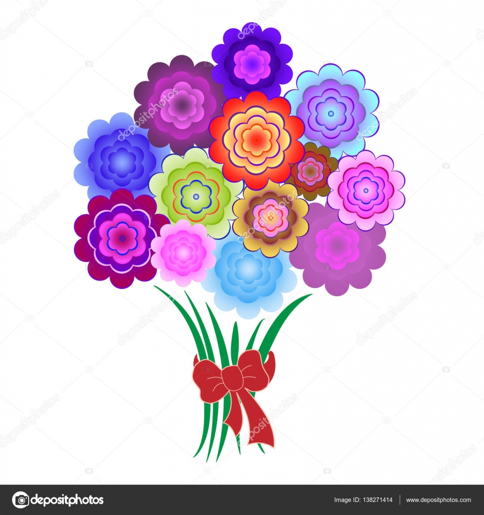 Mazzo Di Fiori Stilizzato.Bouquet Of Bright Colorful Flowers Stock Vector C Nata896452