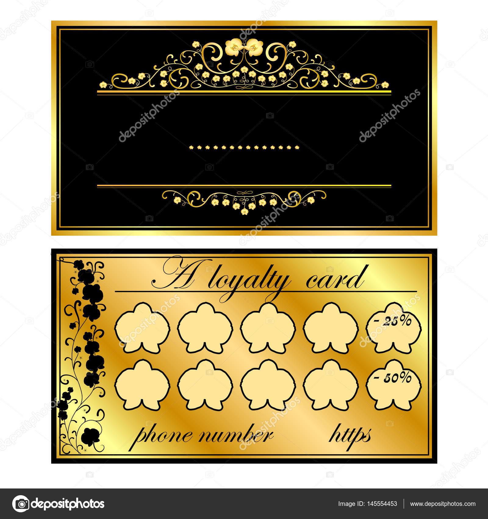 Zwei Visitenkarten Mit Gold Orchideen Stockvektor