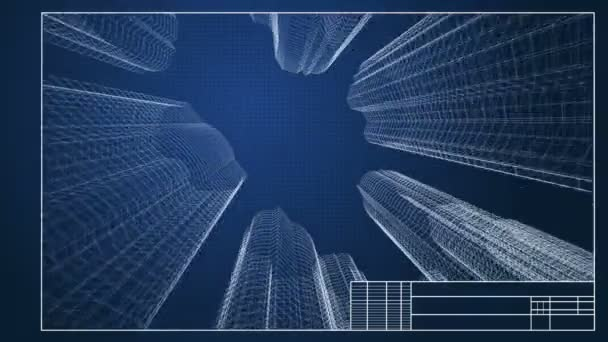 3d wireframe blueprint of the city buildings