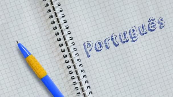 Kézi rajz Portugus lapon notebook és animált.