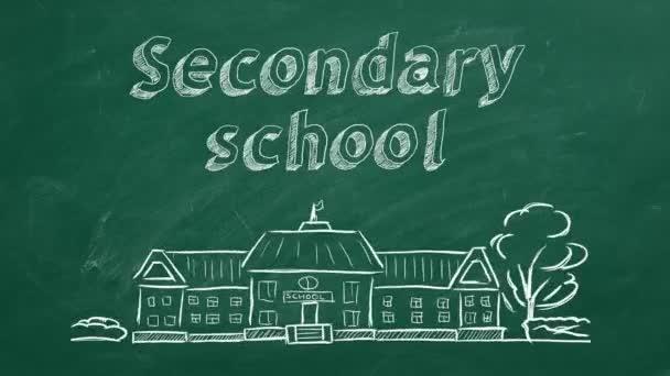 Schulgebäude und Schriftzug Sekundarschule auf Tafel. Handgezeichnete Skizze.