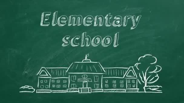 Školní budova a písmo základní školy na tabuli. Kresba z ruky.