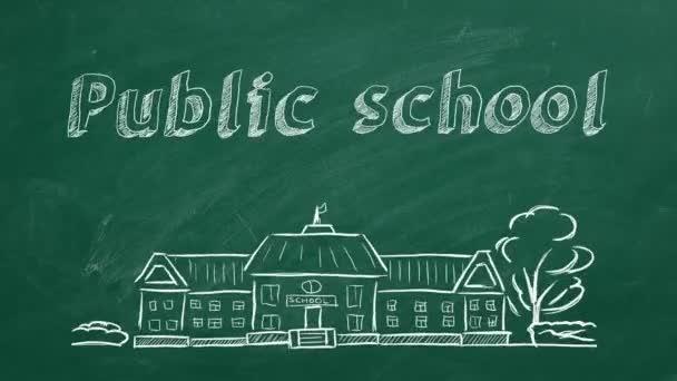 Iskolaépület és betűkkel állami iskola tábla. Kézzel rajzolt vázlat.