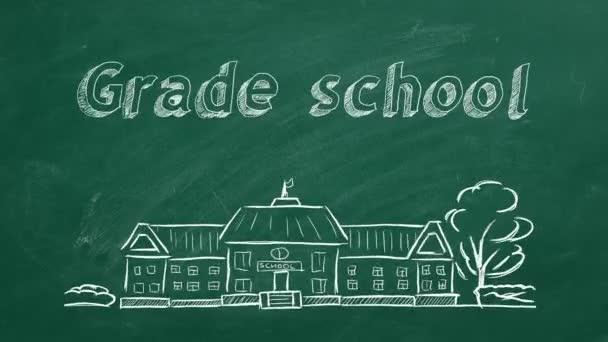 Schulgebäude und Schriftzug Grundschule auf Tafel. Handgezeichnete Skizze.