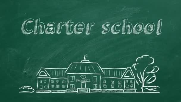 Iskolaépület és betűkkel Charta iskola tábla. Kézzel rajzolt vázlat.