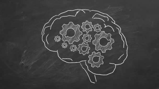 Human brain with cogwheels hand drawn in chalk on a blackboard.