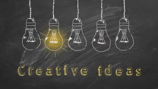 Egy sor villogó volfrám villanykörte krétával rajzolva egy táblán. Kreatív ötletek