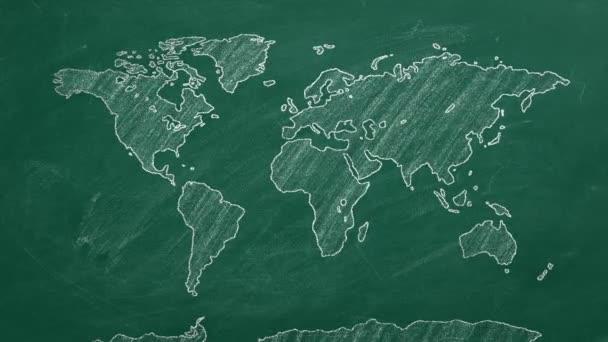 Handgezeichnete Weltkarte. Skizze auf einer Tafel.