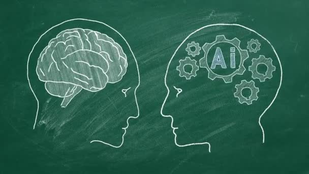 Human intelligence vs artificial intelligence. Face to face. Duel of views. Animated illustration on a school blackboard.