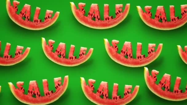 Fresh slices of watermelon on green background. Word SALE  carved in every piece.
