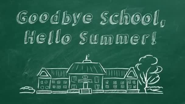 Kézrajz és animált szöveg Viszlát Iskola, Hello Summer! a zöld tábláról.