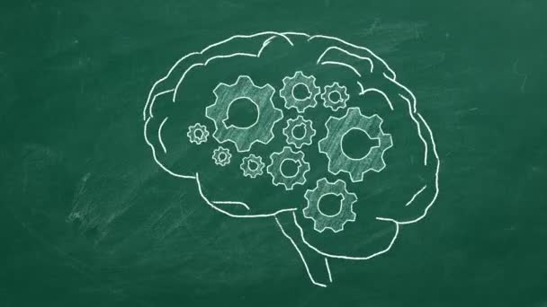 Human brain with cogwheels hand drawn in chalk on a greenboard.