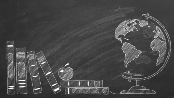 Rotující globus a školní knihy jsou kresleny křídou na tabuli.