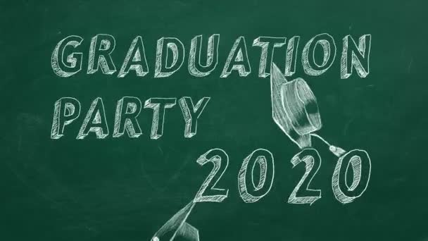 Hand drawing text Graduation party 2020 and graduation caps  on green chalkboard.