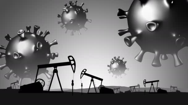 Covid-19. Koncepce zhroucení ropného průmyslu.3D modely koronavirů létají nad ropným polem.