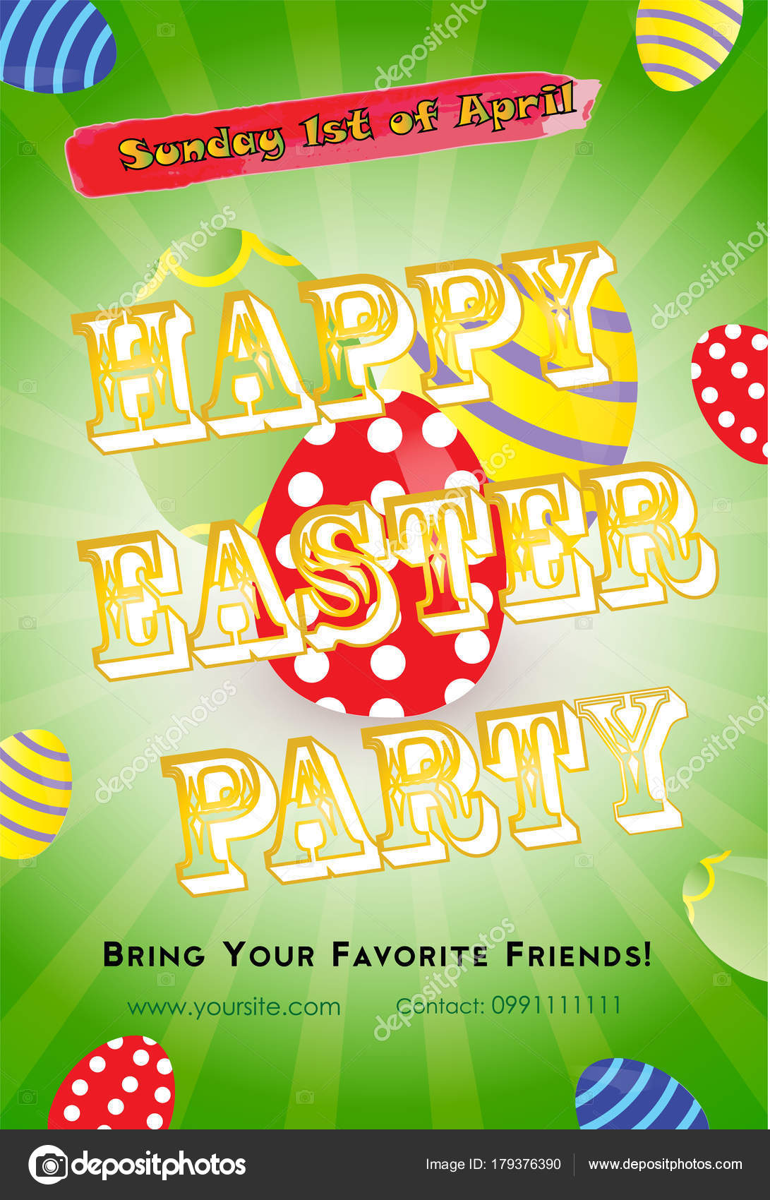 Easter Party Invitation Flyer Template Colorful Eggs Green ...