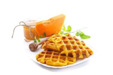 pumpkin waffles with honey
