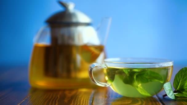 horký zelený čaj s čerstvou mátou