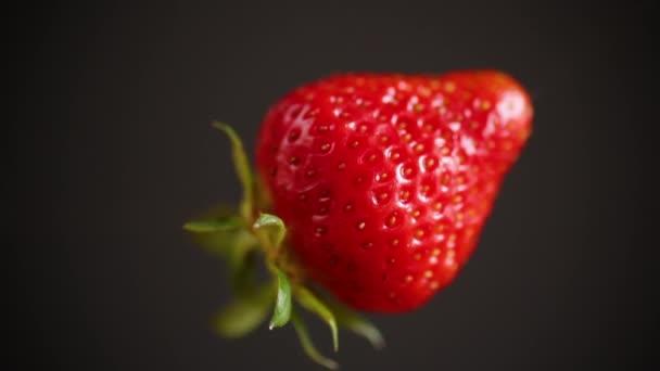 jedna červená zralé jahody na černém pozadí