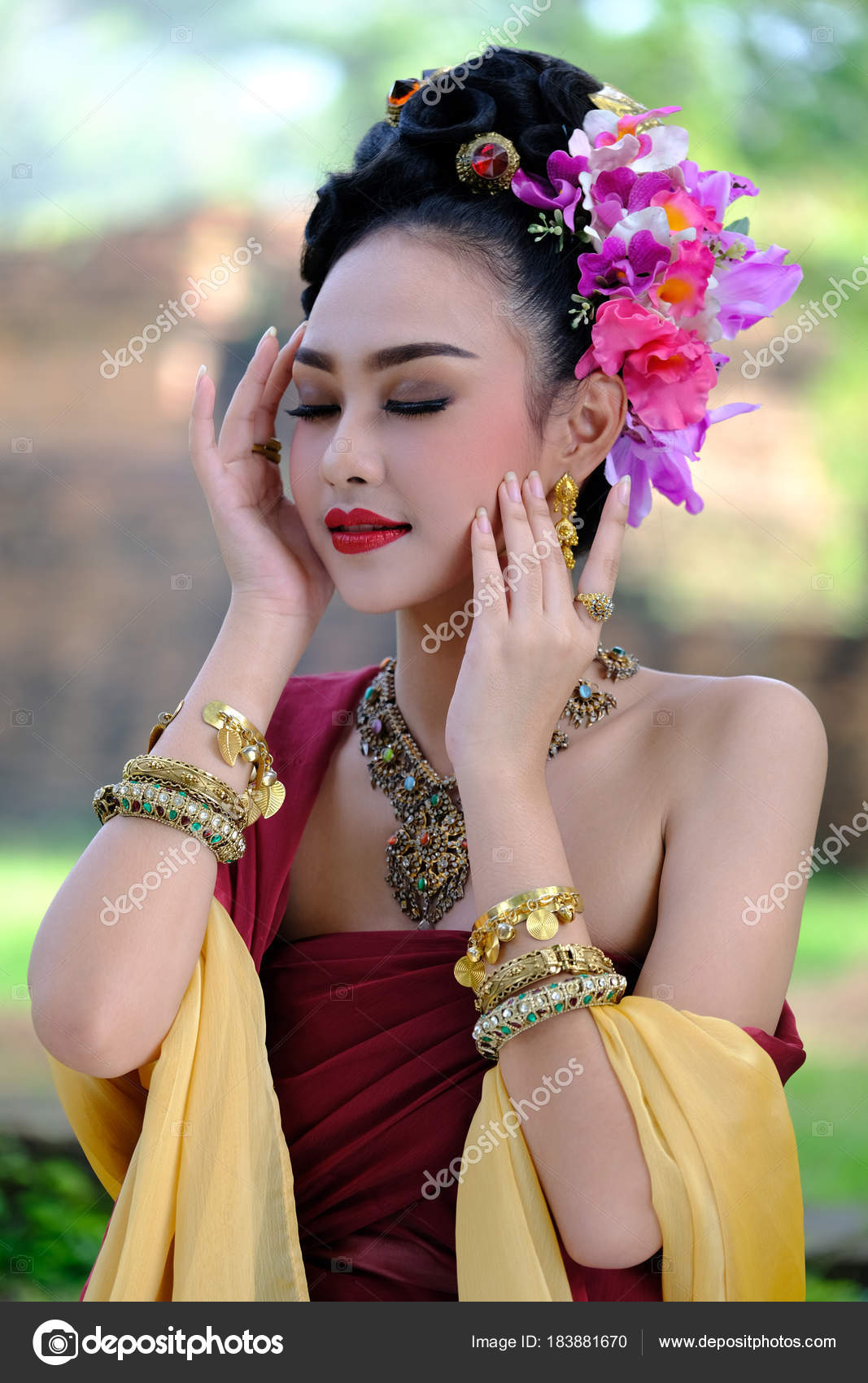Beautiful Thai Girl In Traditional Dress Costume Choeng Tha A Stock Photo