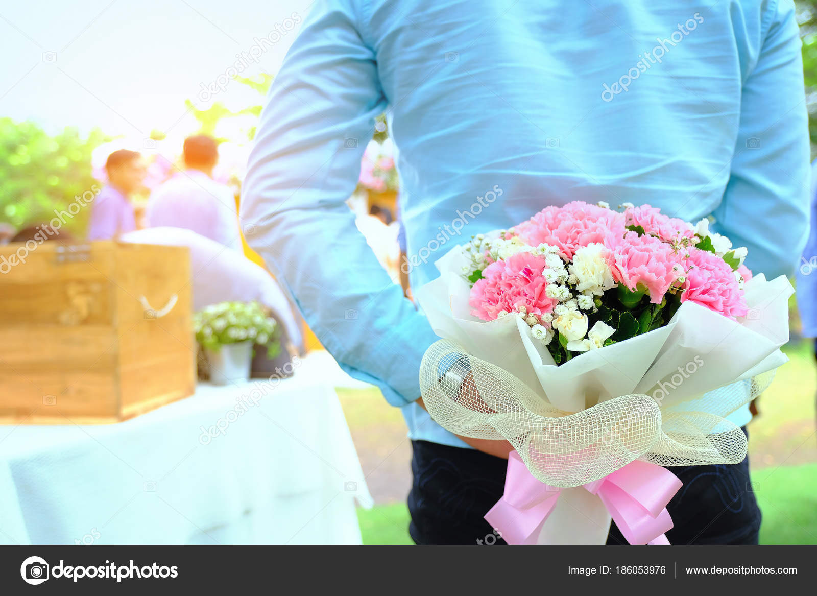 Valentines Day Man Hiding Behind A Bouquet Of Flowers Handsome