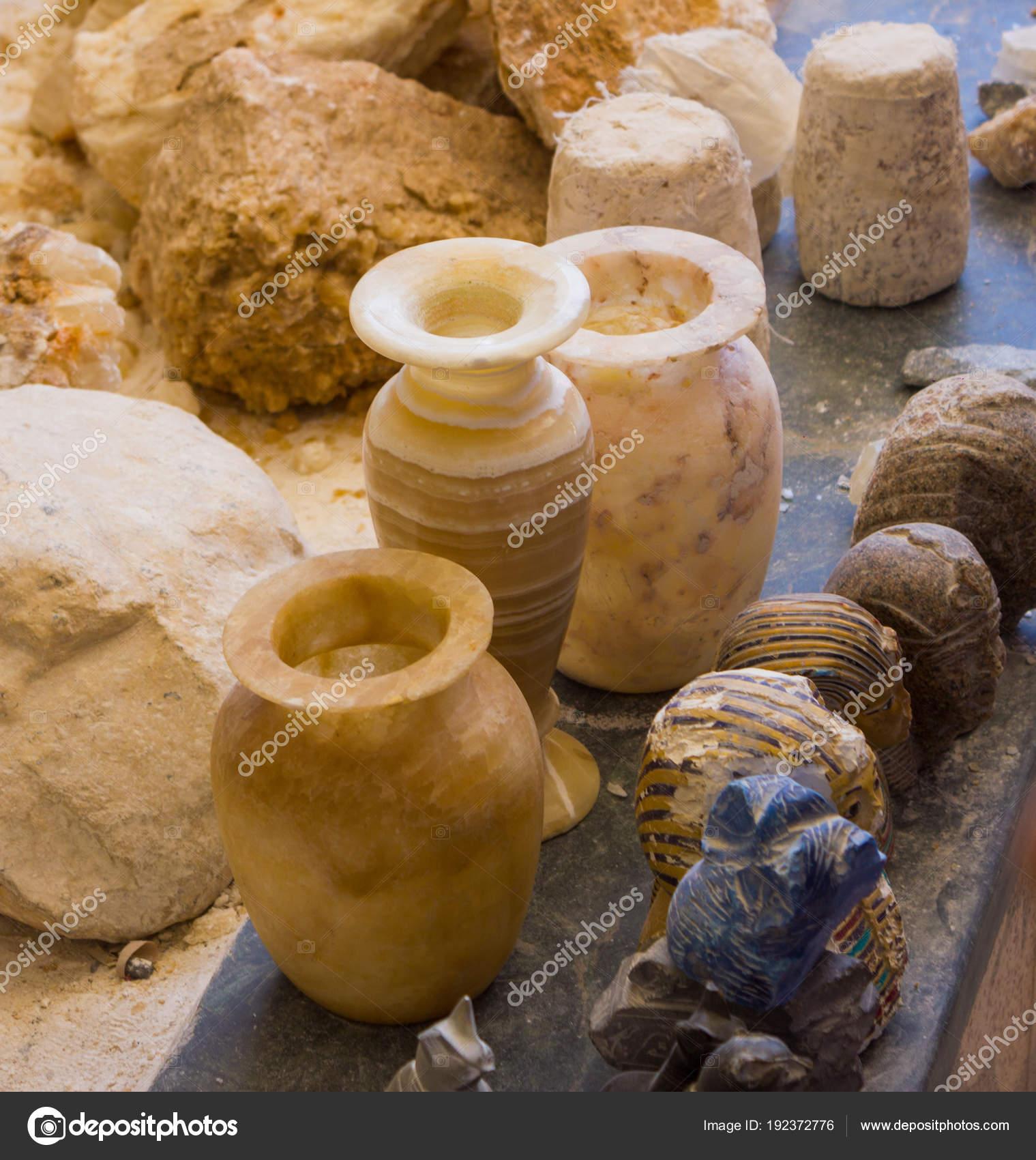 Procesamiento Mano Piedras Artesanos árabes Egipto Foto De