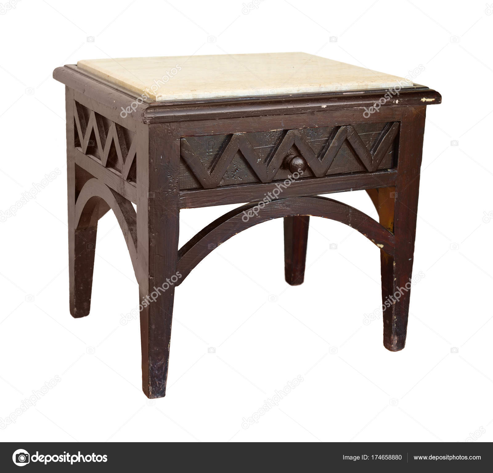 Vintage Holztisch Mit Marmor Arbeitsplatte Stockfoto C Spline X