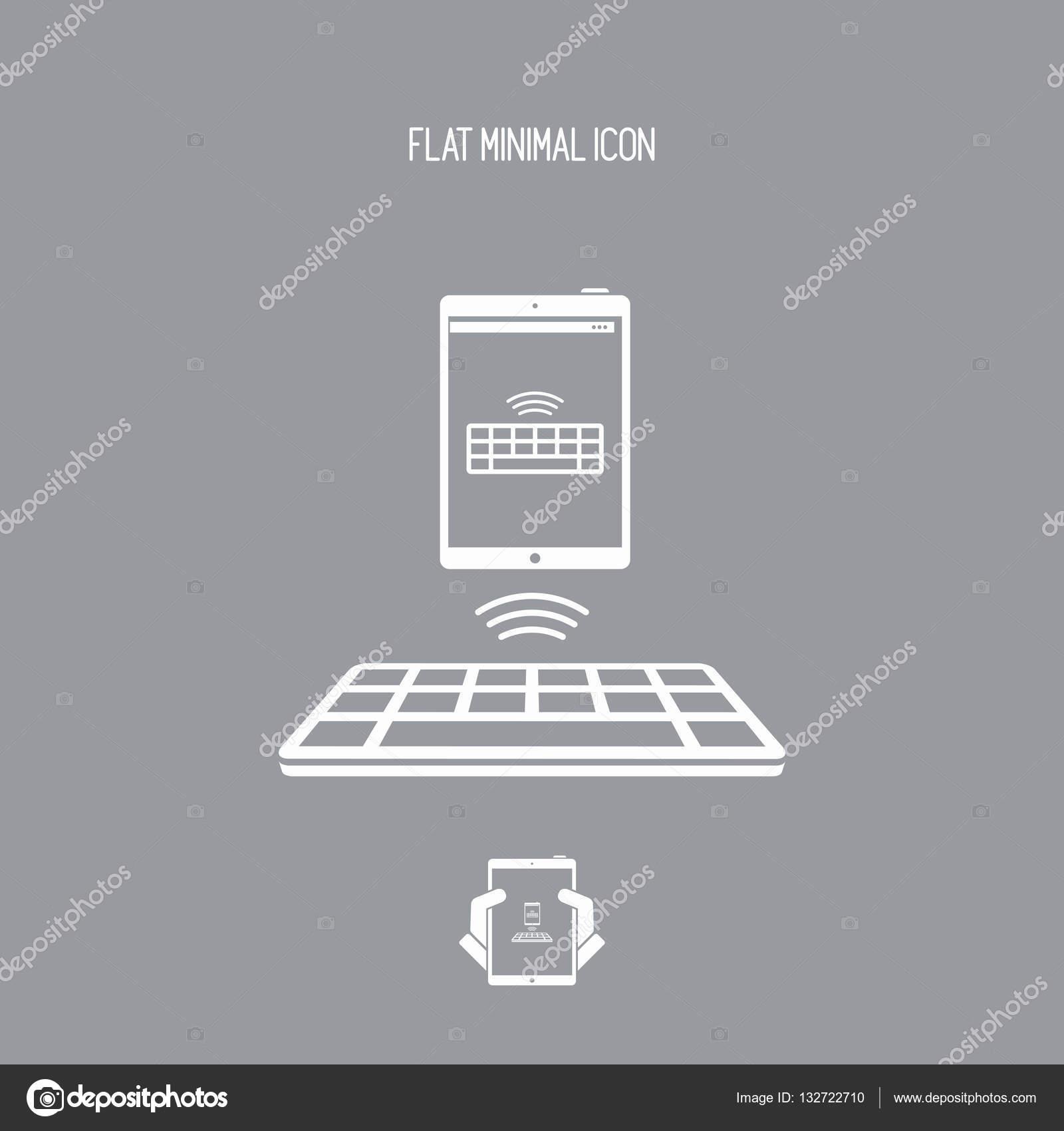 depositphotos_132722710 stock illustration wireless keyboard connected to tablet wireless keyboard connected to tablet vector flat minimal icon