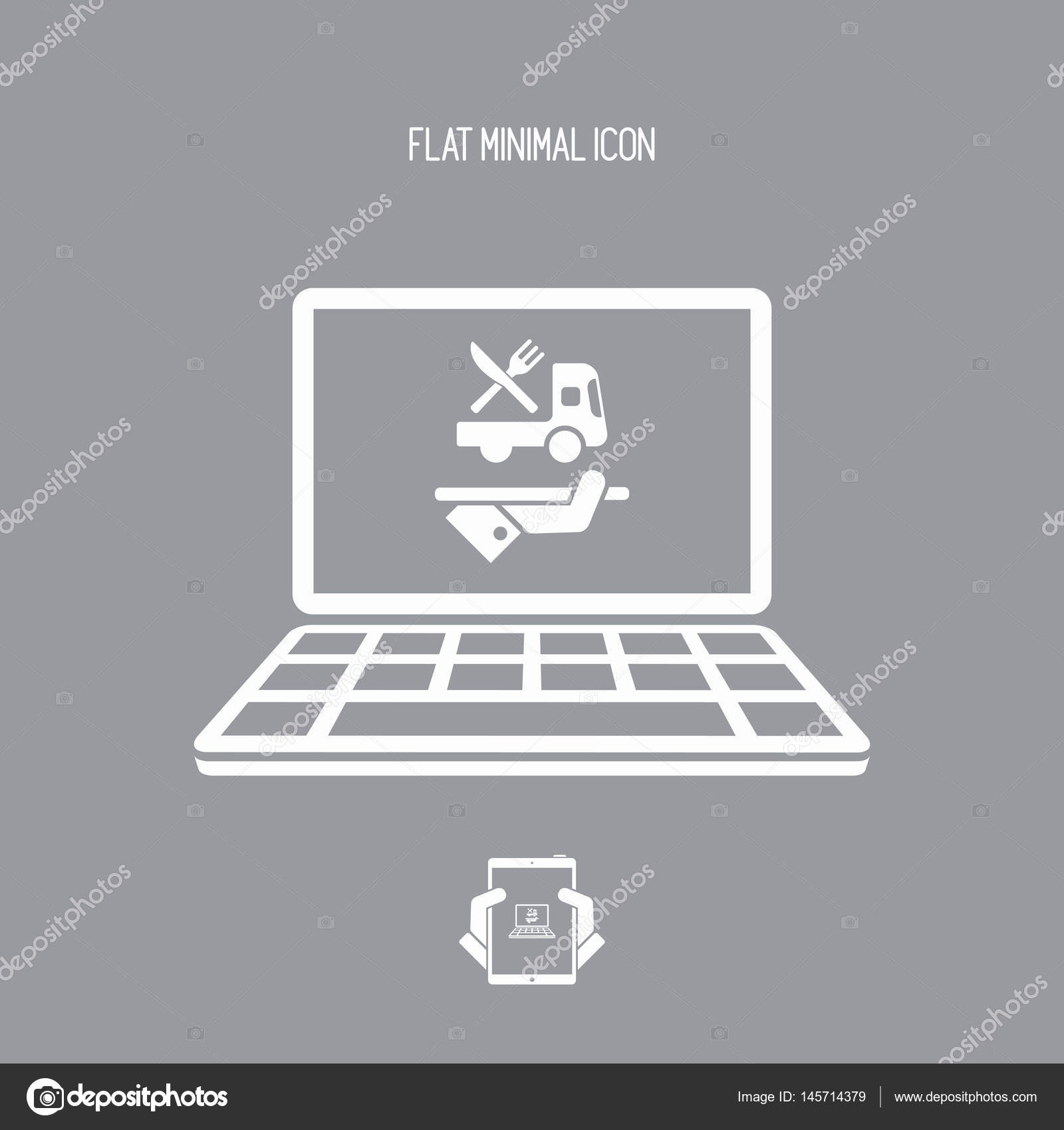 Order online - food delivery services - Vector flat icon