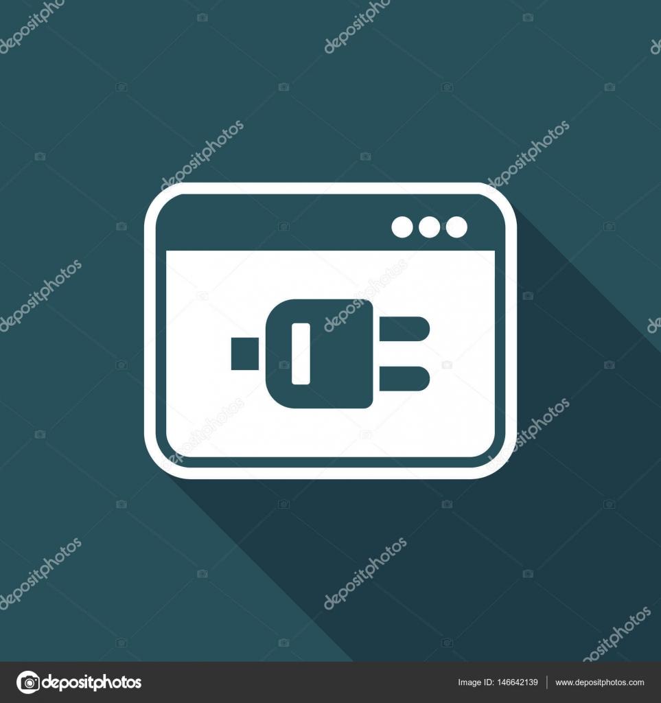 Computer-Steckverbindung - Vektor-flach-Symbol — Stockvektor ...