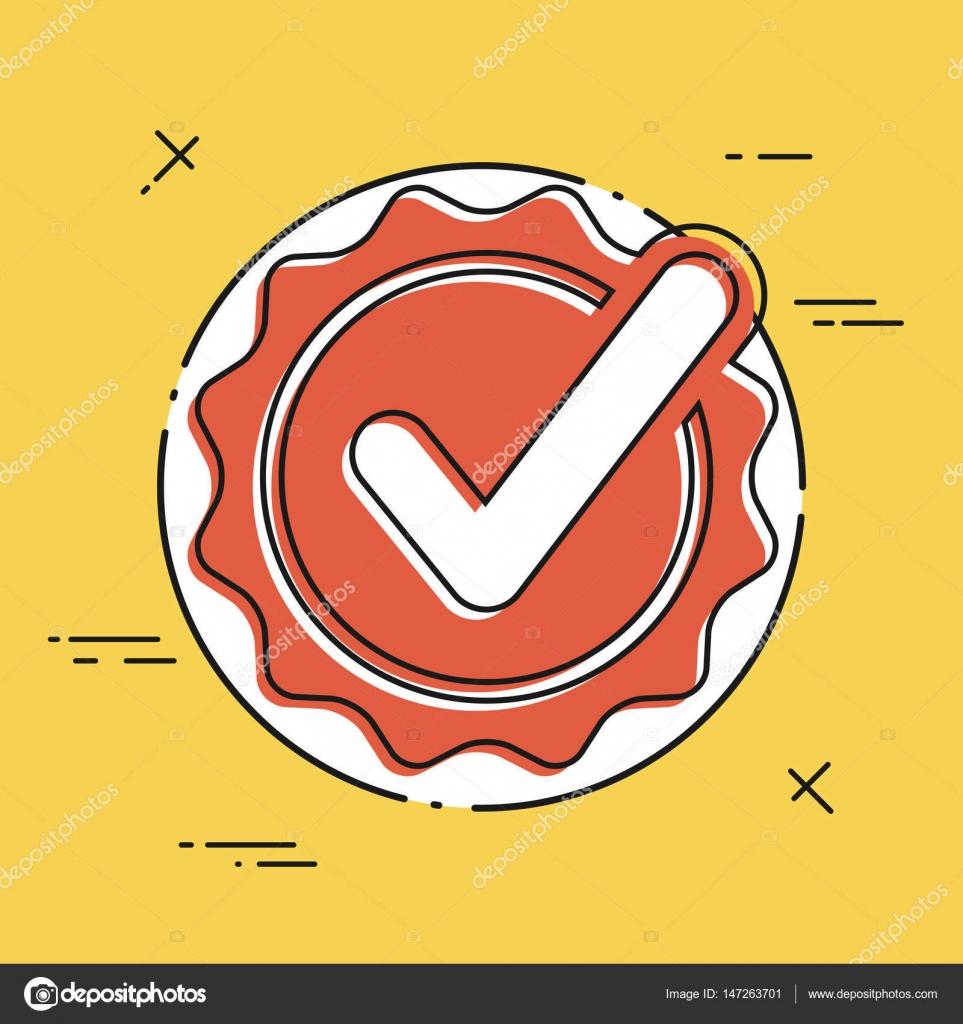 Ícone de plana certificado checkmark vetores de stock myvector