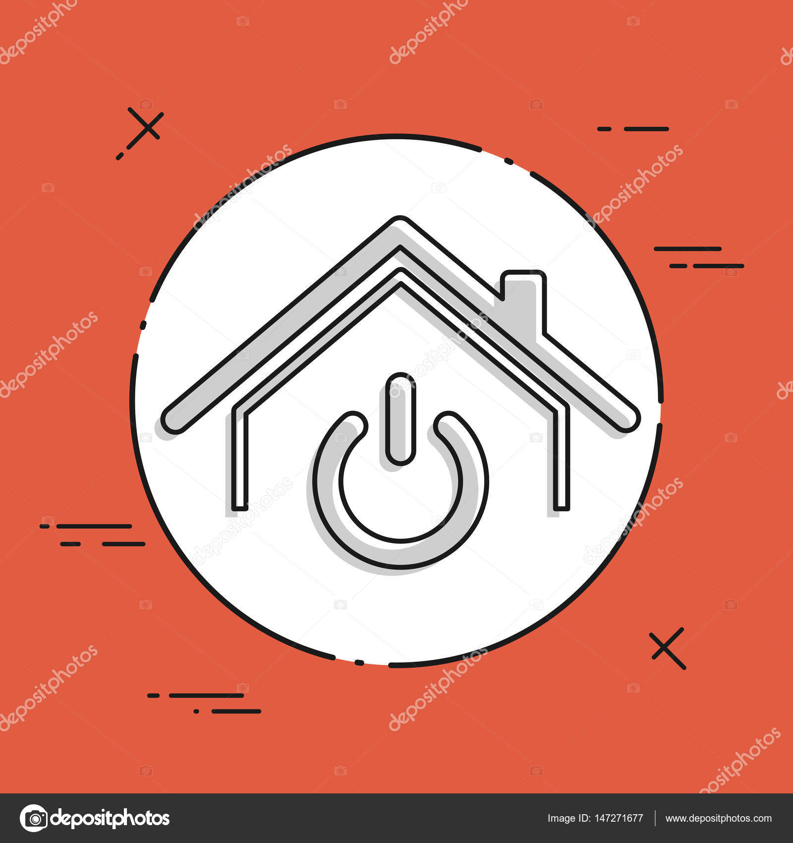 Haus-Power-Schalter-Symbol — Stockvektor © MyVector #147271677