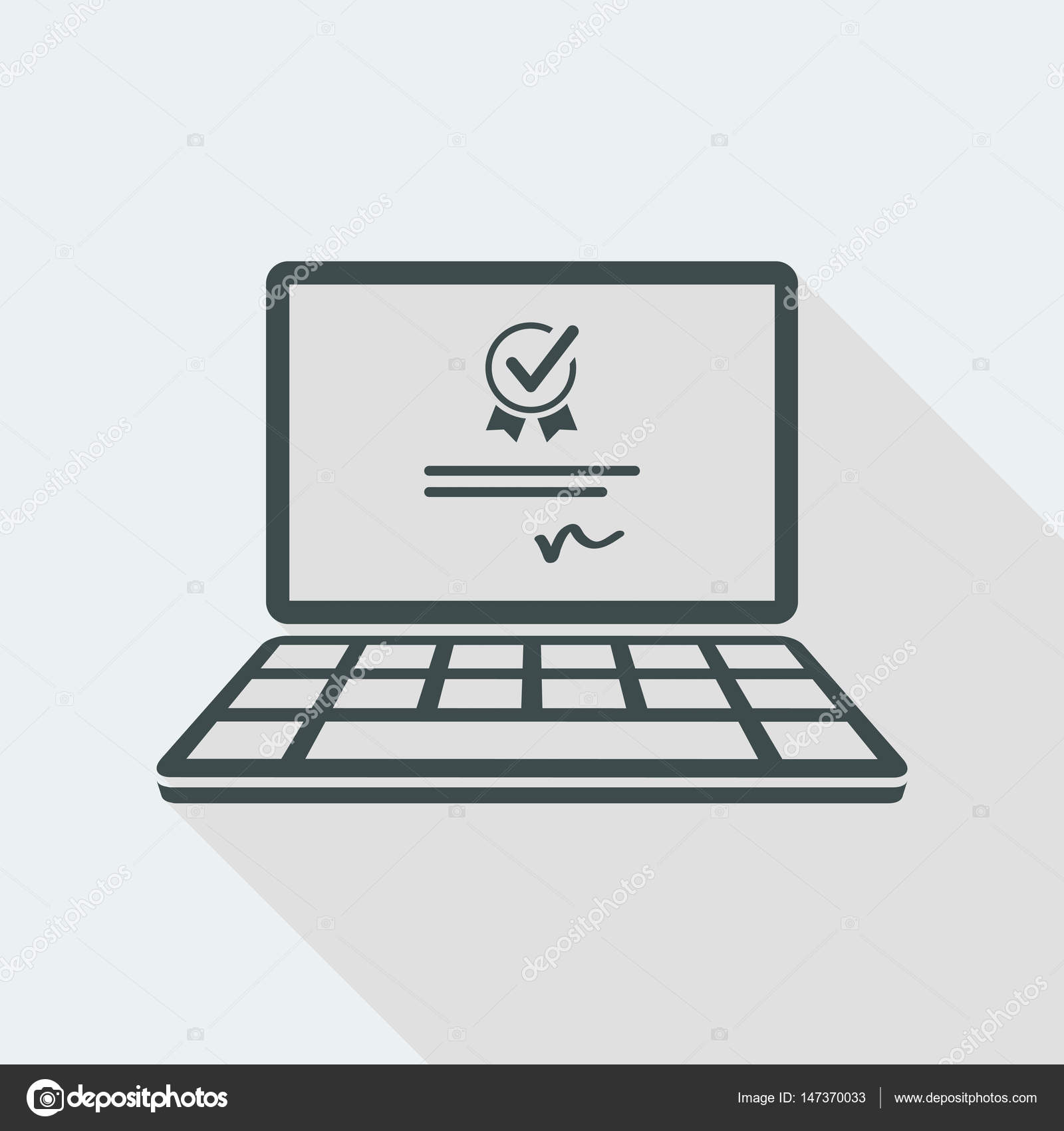 Digital Certificate Vector Icon For Computer Website Or Applic